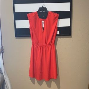 Charles Henry Red V-Neck Dress